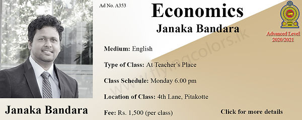 Economics National A Level Tuition in Colombo