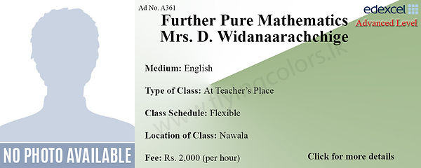 Further Pure Mathematics Tuition in Nawala Colombo | Edexcel A/L