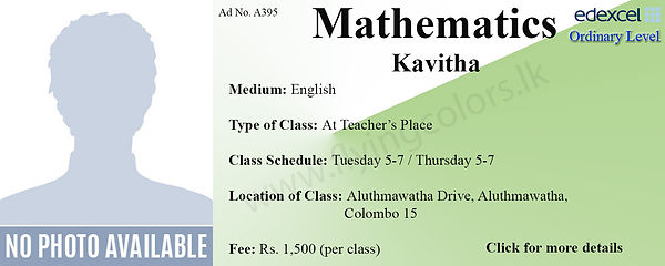 Mathematics Tuition for Edexcel O/L by Ms. Kavitha in Colombo 15