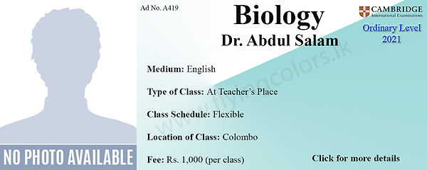Biology Cambridge O/L Classes by Dr. Abdul Salam in Colombo.