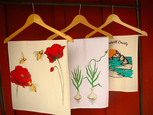 Tea Towels; 100% Cotton- Humboldt County; Poppy Bee, Garlic, Beet