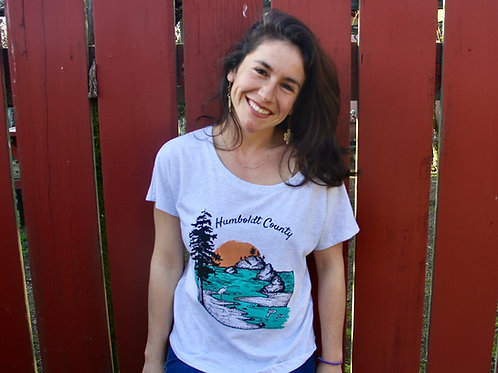 Humboldt County Design on Flowy Female T-Shirt