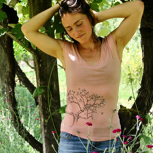 Bee Blossom Tree Sleeveless Festival V-Neck T