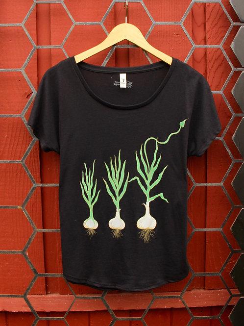 Growing Garlic Design on Black Dolman Ladies T-Shirt