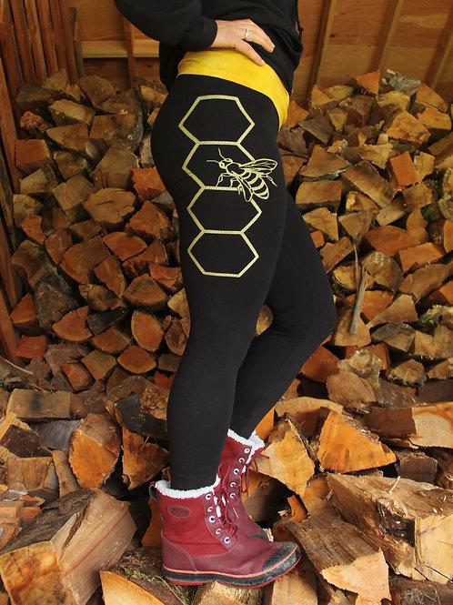 Golden Honeycomb Bee Black Ladies Leggings