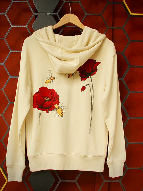 Bee Poppy Cream French Terry Full Zip-Up Hoodie