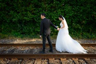 Bride and groom railway