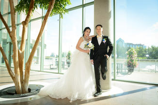 Wedding day photography ceramonial Bride and Groom at Markham Civic Centre