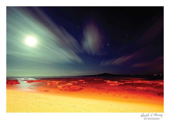 Fine Art Print -'Rangitoto Moon' Takapuna Beach