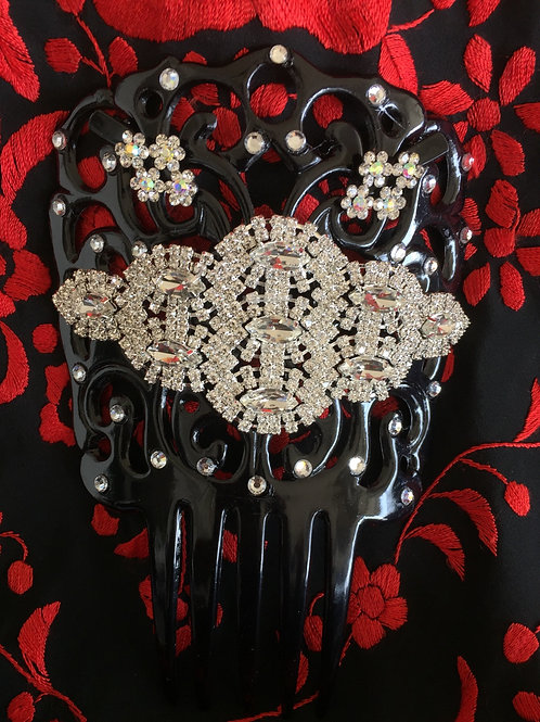 Black Flamenco Hair Combs with crystals