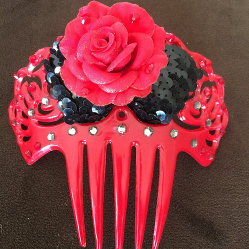 Red Flamenco Hair Comb / Peineta with red crystals and black accent