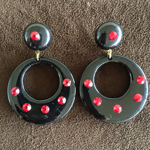 Black Flamenco Earrings with red Crystals