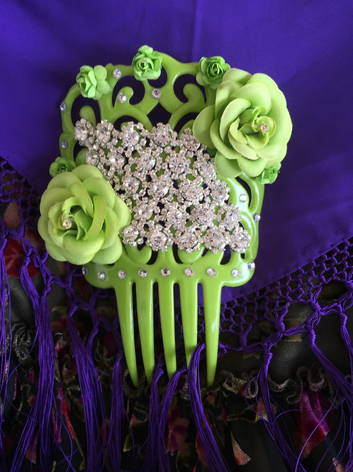 BEST SELLER! Lime Green Flamenco Hair Comb w/Crystals & Flowers