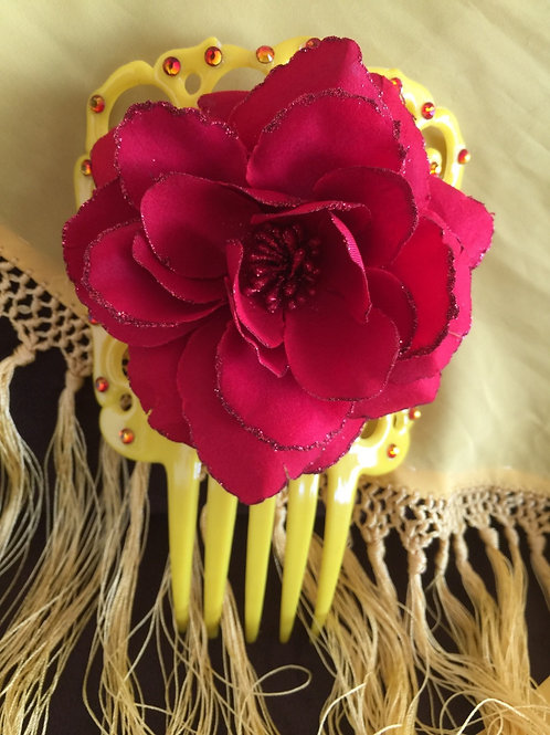 Yellow Hair Comb/Peineta with Red Flower and Crystals