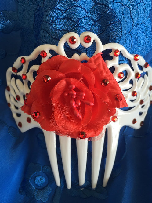 White Hair Combs with Red Flower and crystals