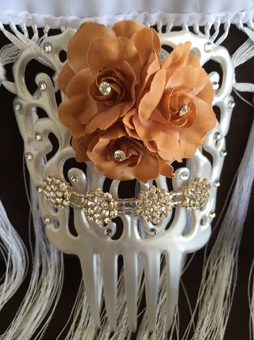 white Faux mother of pearl hair comb with Brown Flower/Crystals