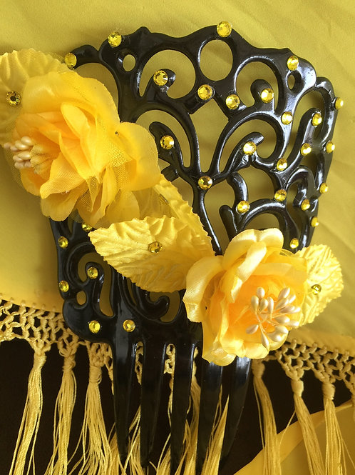 Black Sevillanas Flamenco Hair Comb / Peineta with Yellow Crystals and Flowers