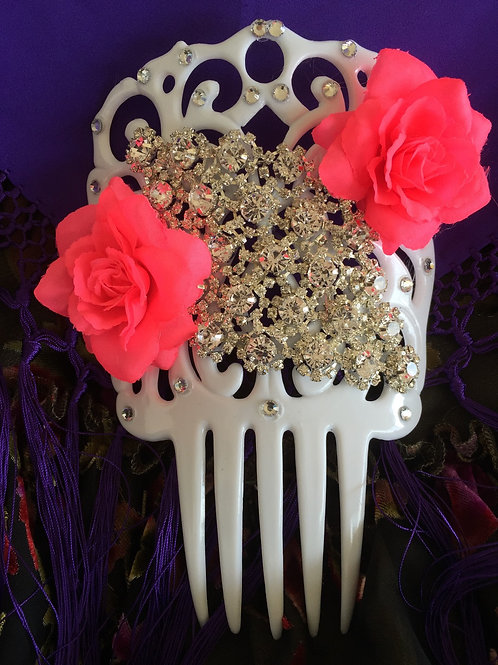 White Flamenco Hair Comb with Pink Flowers and Crystal piece