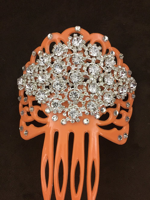 Salmon Hair Comb / Peineta with Crystals