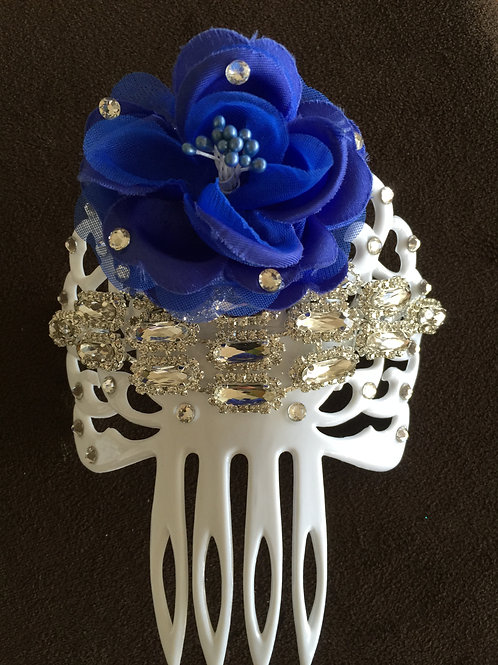 White Hair Comb / Peineta with Crystal and Blue Flower