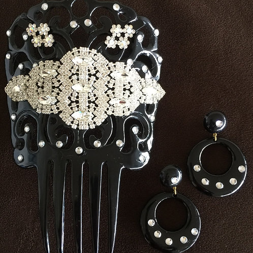 Black Hair Comb with Crystal Pieces and matching Earrings