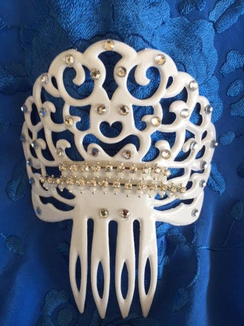White Flamenco Hair Comb / Peineta w/ Crystals