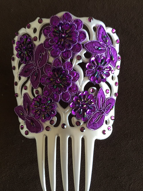 White or Purple Hair Comb / Peineta with Crystal and Purple Applique