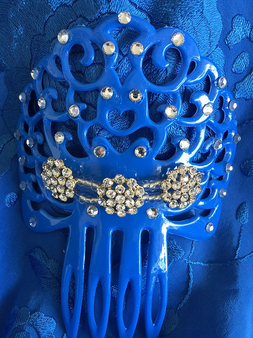 Blue Hair Comb with Crystal piece