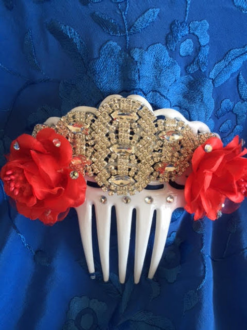 White Flamenco Hair Comb / Peineta Crystal/red flowers