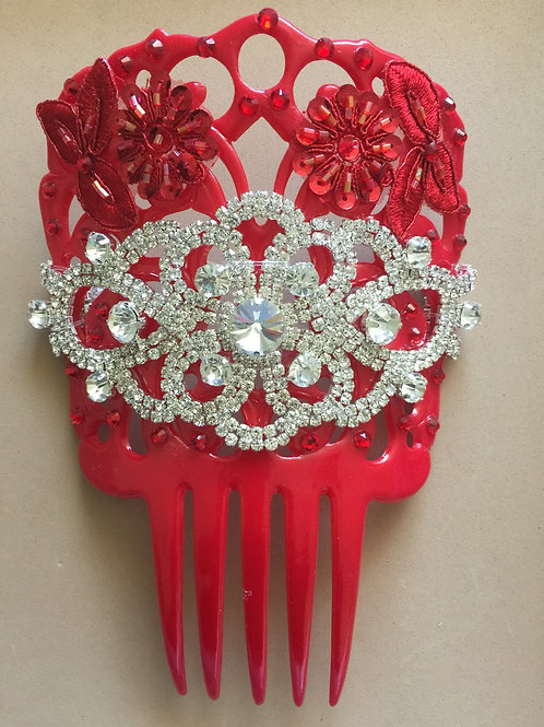 Red Hair Comb/Peineta with Crystal Piece & Red Applique