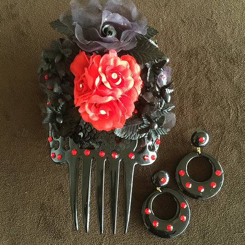 Black Hair Comb with red/Black flower trim/crystals w/ matching earrings