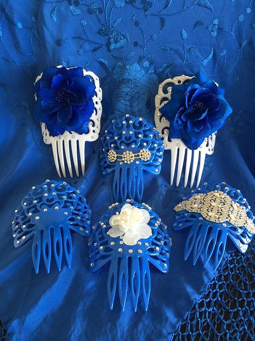 All Blue Flamenco Hair Combs/ Peinetas