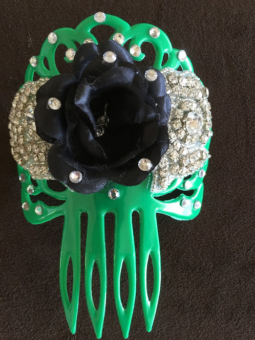 Green Hair Comb/ Peineta with Blk Flower and Crystal