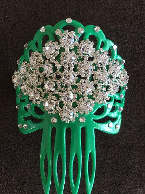 Green Hair Comb /Peineta with Crystal Piece