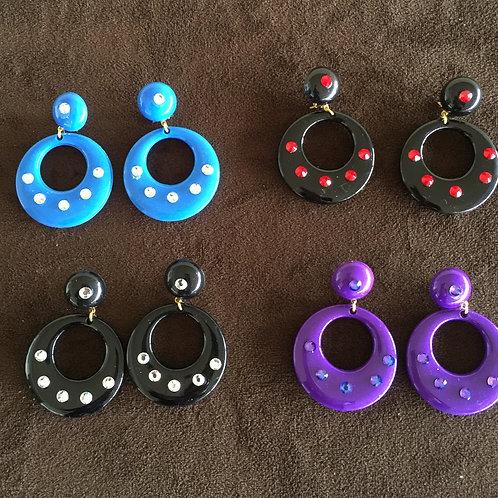4Pair -Flamenco Earrings in Various Colors & Crystals