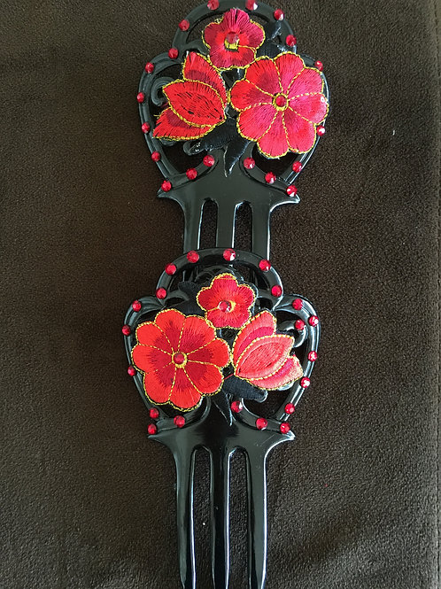 Small Black Hair Comb Set with Red Applique