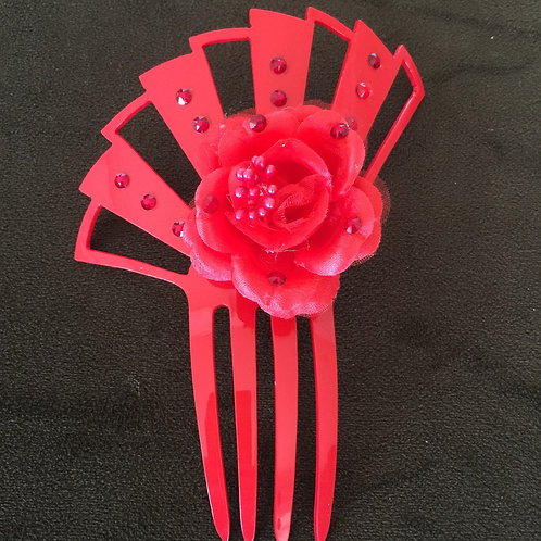 Small Red Hair Comb with Red Flower/Crystals