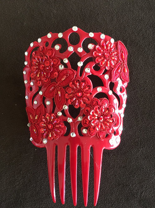 Red Hair Comb / Peineta with Red Applique/Crystals