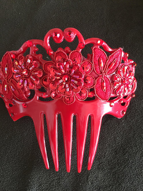 Wider Red Hair Comb with Red Crystal and Applique