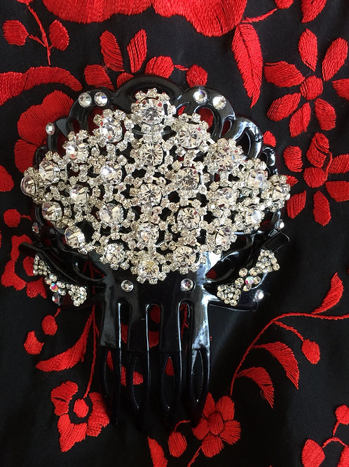 Black Hair Comb with Crystal Pieces