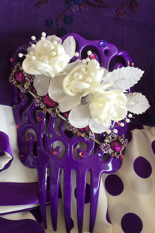 Purple Flamenco Hair Comb / Peineta with purple crystals and white/purple accent