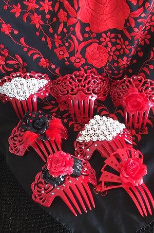 All red Flamenco Hair Combs / Peinetas w/ Crystal