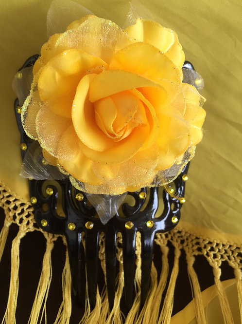 Black Flamenco Hair Comb / Peineta with yellow crystals and flower
