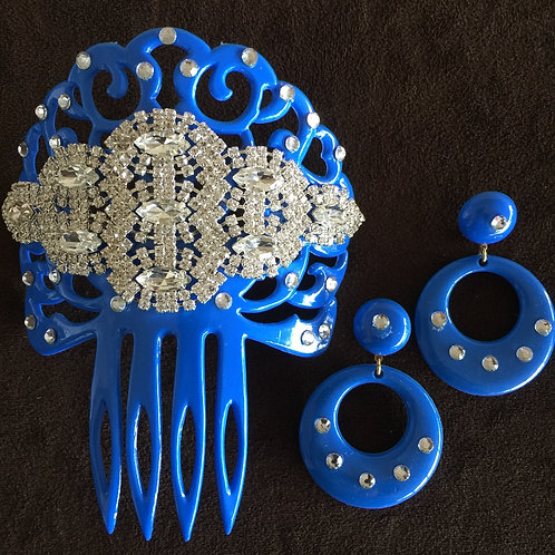 BLUE FLAMENCO HAIR COMB / PEINETA W/ CRYSTAL PIECE AND MATCHING EARRINGS