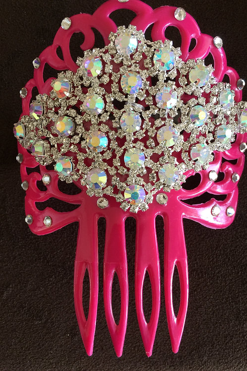 Pink Hair Comb / Peineta with Crystals
