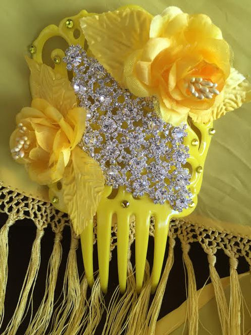 Yellow Flamenco Hair Comb / Peineta with crystal and yellow flowers