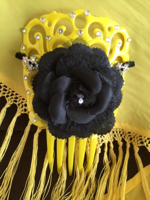 Yellow Flamenco Hair Comb/ Peineta with crystals and black flower