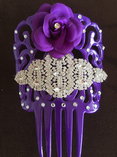 Purple Sevillana Hair Comb / Peineta with crystal accents and  purple flower