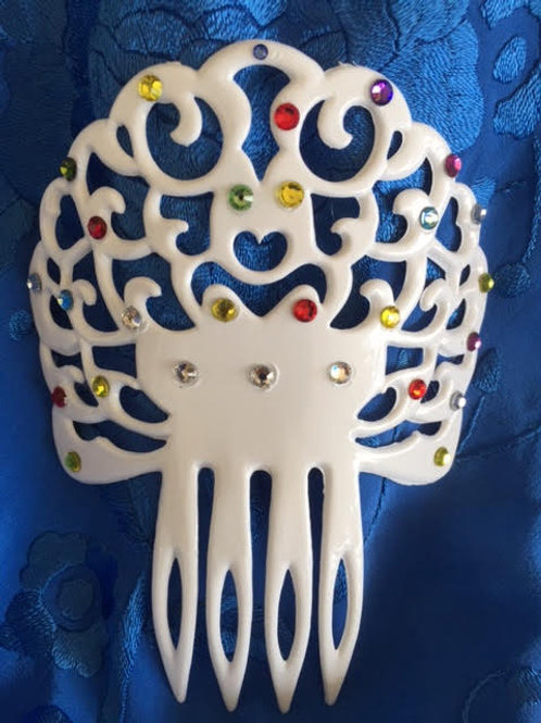White Hair Comb  / Peineta with various color crystals