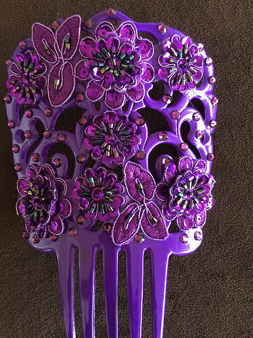Purple Hair Comb/Peineta with Purple Crystal/Applique